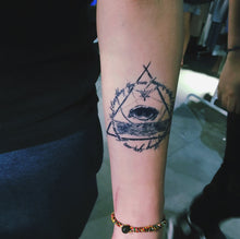 Load image into Gallery viewer, Alchemist Eye Triangle Tattoo - LAZY DUO TATTOO
