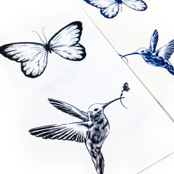 Humming Bird Tattoo Hummingbird Butterfly Boho Tattoo LAZY DUO Tattoo Sticker 香港紋身貼紙 刺青圖案 紋身師 印刷訂做客製 Custom Temporary Tattoo artist HK tattoo shop Hong Kong 迷你刺青 韓式刺青紋身 small tattoo design Minimal Tattoo little tattoo idea sketchy tattoo floral tattoo ankle wrist tattoo back tattoo Taiwan