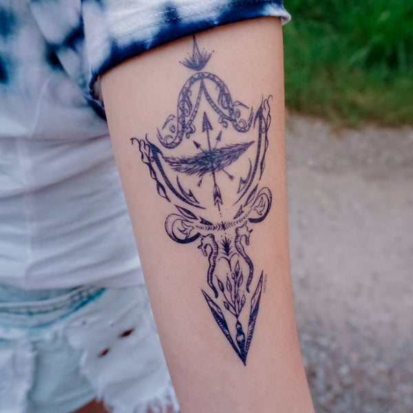 Arrow Boho Tattoo LAZY DUO Tattoo Sticker 香港紋身貼紙 刺青圖案 紋身師 印刷訂做客製 Custom Temporary Tattoo artist HK tattoo shop Hong Kong 迷你刺青 韓式刺青紋身 small tattoo design Minimal Tattoo little tattoo idea sketchy tattoo floral tattoo ankle wrist tattoo back tattoo Taiwan