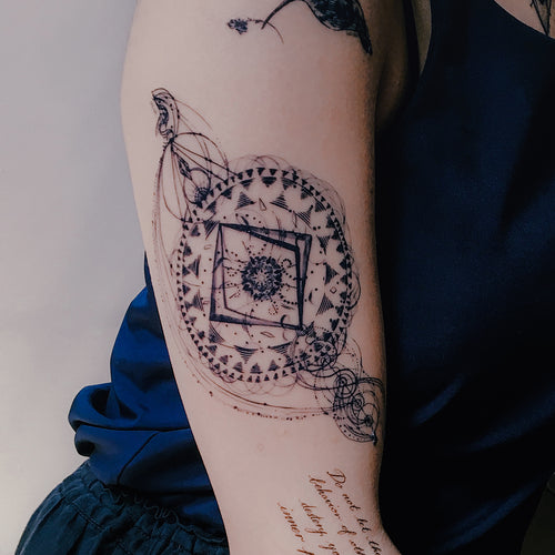 Bohemian Zodiac Compass Tattoo - LAZY DUO TATTOO