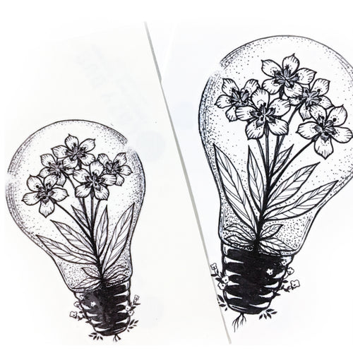 Flower In a Lightbulb Tattoo - LAZY DUO TATTOO