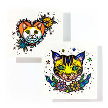 Load image into Gallery viewer, New School Pop Color Cats Tattoos - LAZY DUO TATTOO