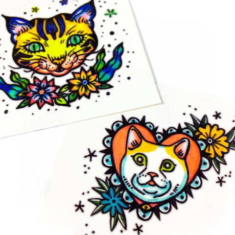 LAZY DUO 彩色貓刺青紋身情侶 Pop Color Old School Cat Tattoo Sticker Couple Tattoo Matching Funny Cat Black & Yellow Cat Tattoo 香港刺青圖案紋身貼紙印刷訂做客製 Custom Temporary Tattoo artist HK tattoo shop Hong Kong 迷你刺青 韓式刺青紋身 small tattoo design Minimal Tattoo little tattoo idea sketchy tattoo floral tattoo ankle wrist tattoo back tattoo Taiwan