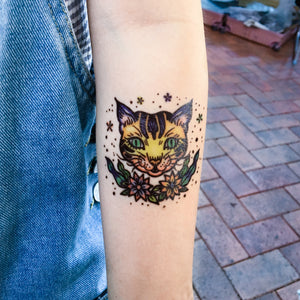Old School Flower & Kitten Tattoos - LAZY DUO TATTOO