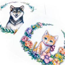 Load image into Gallery viewer, Watercolor Floral Kitten and Shiba Tattoo - LAZY DUO TATTOO