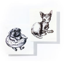 Load image into Gallery viewer, Sphynx Cat & Donut Pug Tattoos - LAZY DUO TATTOO