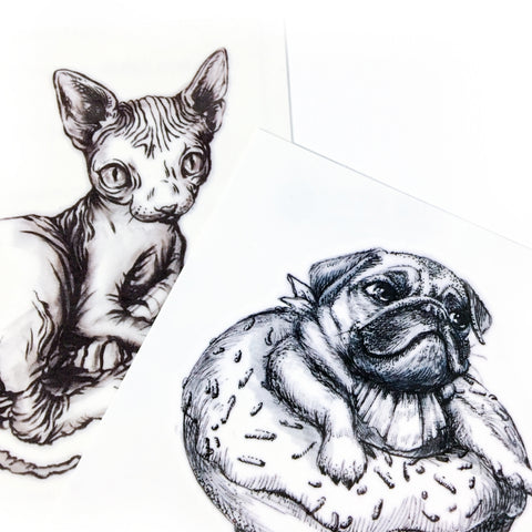 LAZY DUO Love Sphynx Kitten & Donut Pug Tattoo Sticker 冬甩PUG 八哥狗犬 貓刺青動物  情侶刺青 紋身 Couple Tattoo Matching Sneaky Cat Black Cat Tattoo White Cat Tattoo Minimal Tattoo LAZY DUO Tattoo Sticker 香港紋身貼紙 刺青圖案 紋身師 印刷訂做客製 Custom Temporary Tattoo artist HK tattoo shop Hong Kong 迷你刺青 韓式刺青紋身 small tattoo design Minimal Tattoo little tattoo idea sketchy tattoo floral tattoo ankle wrist tattoo back tattoo Taiwan
