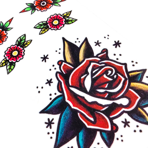 LAZY DUO Old School Red Rose Temporary Tattoo Sticker Stars Bold Tattoo Idea Classic American Tattoo Red Tattoo Rad Tattoo 香港紋身貼紙 刺青圖案 紋身師 印刷訂做客製 Custom Temporary Tattoo artist HK tattoo shop Hong Kong 迷你刺青 韓式刺青紋身 small tattoo design Minimal Tattoo little tattoo idea sketchy tattoo floral tattoo ankle wrist tattoo back tattoo Taiwan