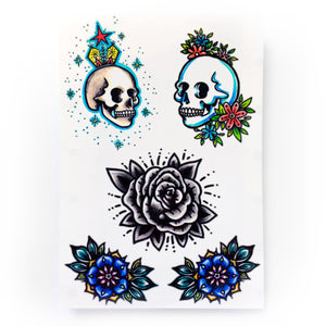 Old School Skull & Rose Tattoo - LAZY DUO TATTOO