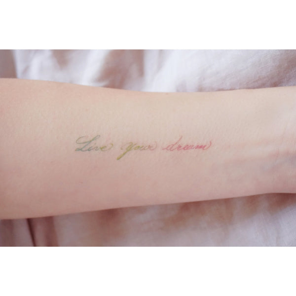 Live Your Dream Rainbow Colorful Delicate Minimal Tattoo Lettering Tattoo Words Tattoo Quote Tattoo Nationality Tattoo Watercolor LAZY DUO Tattoo Sticker 香港紋身貼紙 刺青圖案 紋身師 印刷訂做客製 Custom Temporary Tattoo artist HK tattoo shop Hong Kong 迷你刺青 韓式刺青紋身 small tattoo design Minimal Tattoo little tattoo idea sketchy tattoo floral tattoo ankle wrist tattoo back tattoo Taiwan
