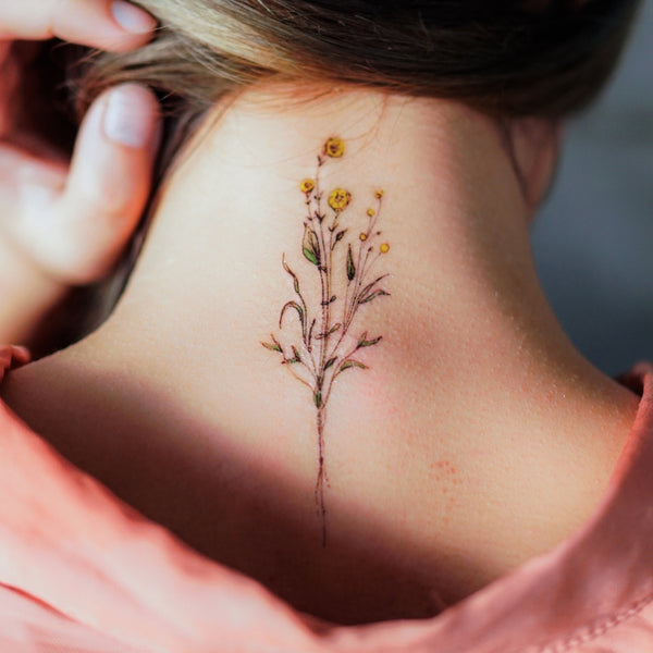 Delicate Floral Tattoo Minimal Little Flower Tattoos LAZY DUO Temporary Tattoo Flash Small Yellow Flower Tattoos Rose Tattoo Stickers TATTOOHK Hong Kong 迷你水彩簡約小花刺青紋身貼紙印刷訂做客製 Custom Tattoo artist HK tattooshop 韓式刺青紋身 Realistic Fake Tattoo floral tattoo ankle wrist tattoo back tattoo Taiwan