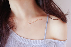Watercolor Lettering Tattoo・La Vie est Belle - LAZY DUO TATTOO