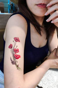 Large Red Poppy Flower Tattoo|LAZY DUO TEMPORARY TATTOO STICKER SHOP HK Tattoo Design Store HK HONG KONG Rib Tattoo 紋身貼紙 香港紋身認領圖 文青 美式花紋身tattoohk hongkongtattoo 小圖刺青 fine-line tattoo 簡約刺青 minitattoo linetattoo tattooartist 香港刺青 MANE INK