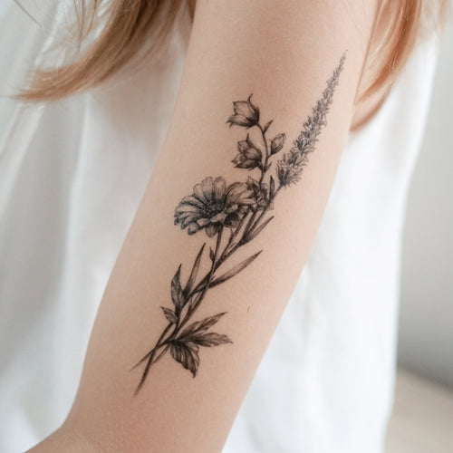 Lavender & Daisy Flower Tattoo - LAZY DUO TATTOO