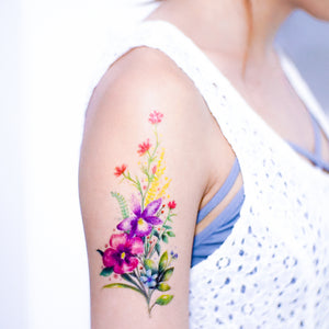 Watercolor Bouquet of Flower Tattoos - LAZY DUO TATTOO