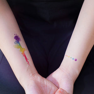 LGBTQ Pride Watercolor Rainbow Droplet Tattoos - LAZY DUO TATTOO