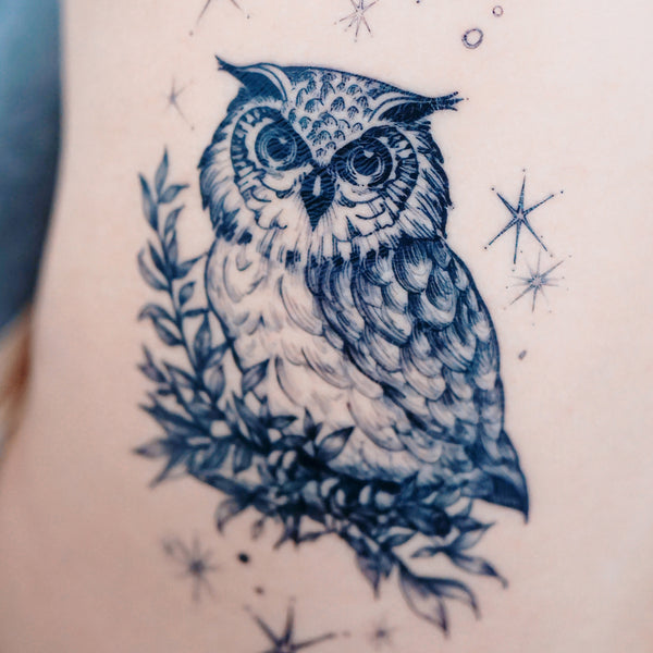 Owl Tattoo Watercolor Owl Tattoos Animal Tattoos Bird Tattoo Sticker 貓頭鷹刺青紋身貼紙 LAZY DUO Realistic Temporary Tattoo HK Hong Kong 香港紋身店女刺青師 小清新紋身 香港女紋身師 水彩動物紋身刺青