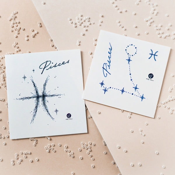 Pisces Tattoo Minimal Zodiac Sign Tattoos romantic devoted compassionate Silver Metallic Tattoos UV Tattoo Sticker Zodiac Symbol Tattoos Minimal Tattoos LAZY DUO Realistic Temporary Tattoo HK Hong Kong 雙魚座紋身星座刺青香港紋身店 Mane Ink Manyeee Tattoo