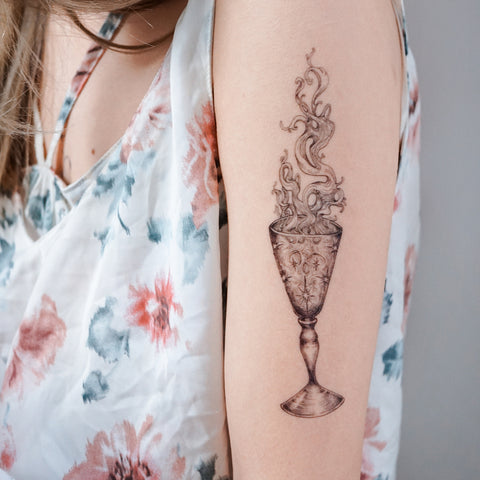 Smoke in the Glass Tattoo Sticker Surreal Illustration Tattoos Fine Line Tattoos LAZY DUO Realistic Temporary Tattoo HK Hong Kong 香港刺青紋身貼紙