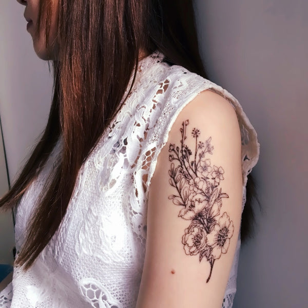 LAZY DUO Temporary Tattoo Sticker HK水彩刺青紋身貼紙設計少量印刷訂做客製市集Hong Kong artist tattoo shop 迷你韓式刺青紋身師