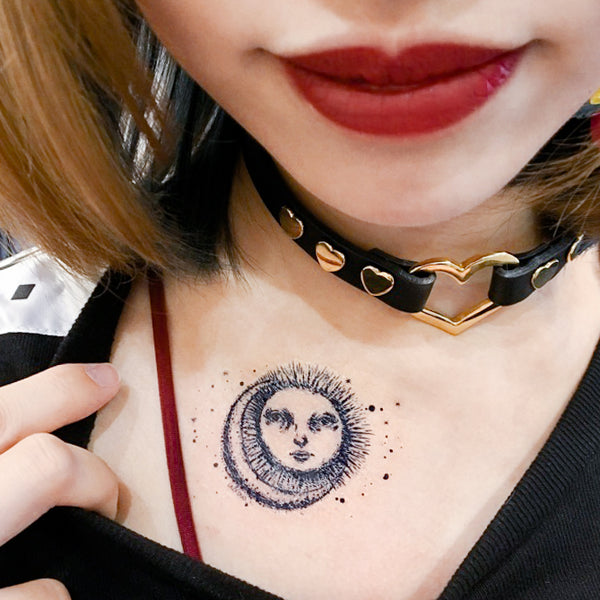 Tarot Sun and Moon Tattoo Minimal Tattoo Alchemist Tattoo LAZY DUO Tattoo Sticker 香港紋身貼紙 刺青圖案 紋身師 印刷訂做客製 Custom Temporary Tattoo artist HK tattoo shop Hong Kong 迷你刺青 韓式刺青紋身 small tattoo design Minimal Tattoo little tattoo idea sketchy tattoo floral tattoo ankle wrist tattoo back tattoo Taiwan