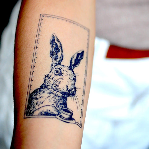 LAZY DUO Bunny Tattoo Rabbit Tattoo Animal Tattoo Alice in Wonderland Tattoo Artist香港紋身貼紙刺青客製印刷訂做EVENTTATTOO Custom Temporary Tattoo Tatouage