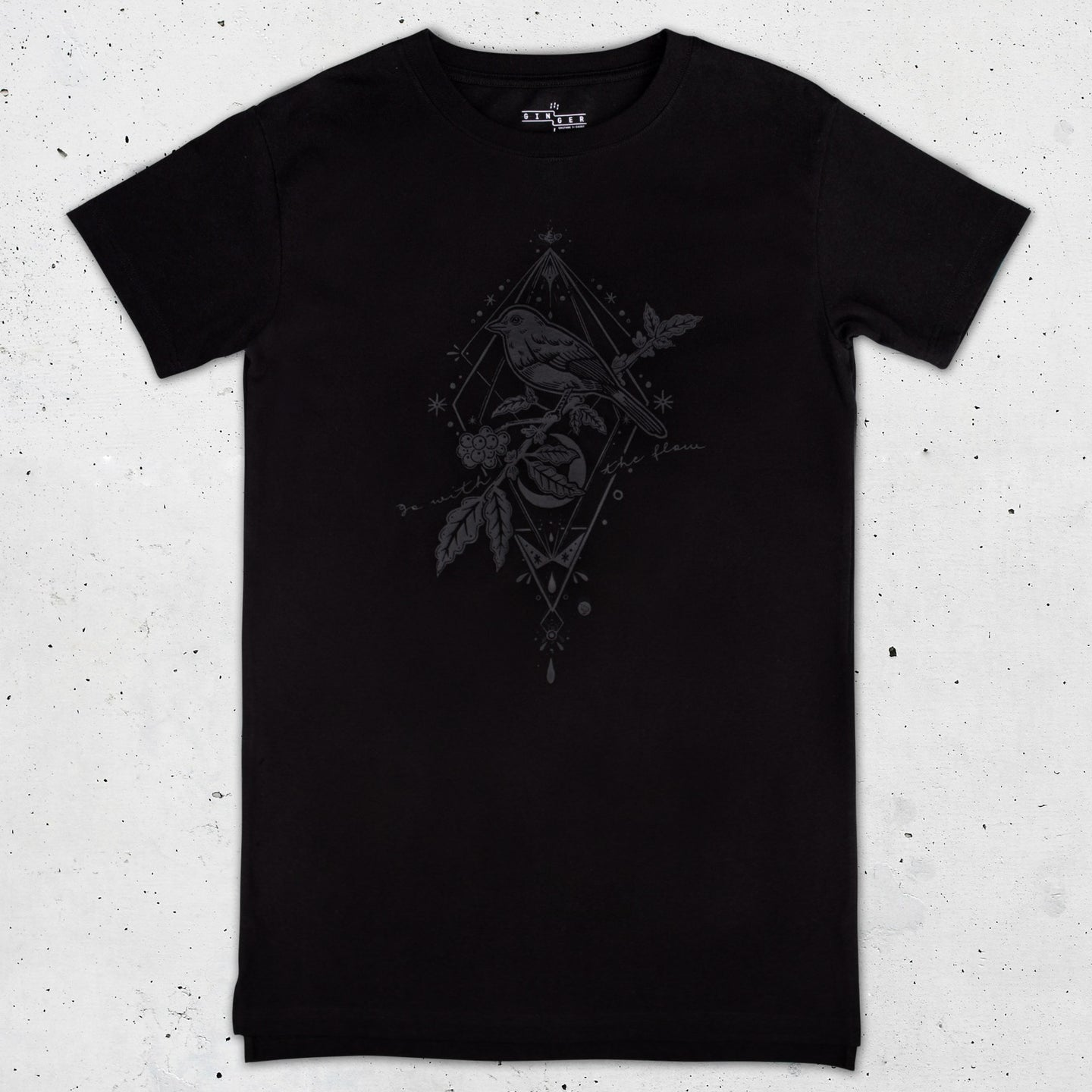 Bird Graphic Long T-shirt in Black - LAZY DUO TATTOO