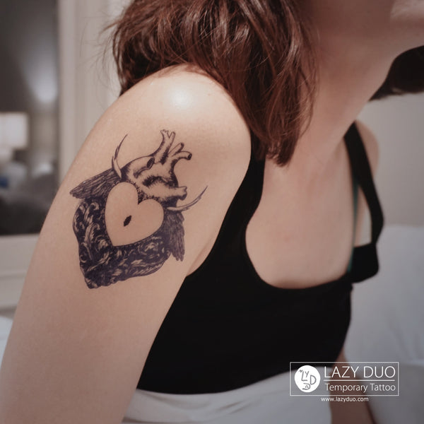 心臟刺青 Heart Tattoo Alchemist Tattoo LAZY DUO Tattoo Sticker 香港紋身貼紙 刺青圖案 紋身師 印刷訂做客製 Custom Temporary Tattoo artist HK tattoo shop Hong Kong 迷你刺青 韓式刺青紋身 small tattoo design Minimal Tattoo little tattoo idea sketchy tattoo floral tattoo ankle wrist tattoo back tattoo Taiwan