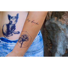 Load image into Gallery viewer, Motivational Words.Try Harder Tattoo - LAZY DUO TATTOO