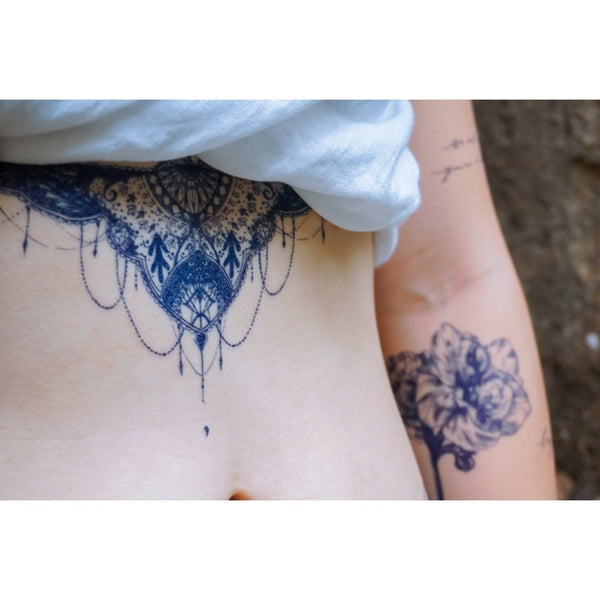 LAZY DUO Indigo Tattoo Sticker Blue Tattoo Underchest Underboob 香港 藍色 紋身貼紙 刺青圖案 紋身師 印刷訂做客製 Custom Temporary Tattoo artist HK tattoo shop Hong Kong 迷你刺青 韓式刺青紋身 small tattoo design Minimal Tattoo little tattoo idea sketchy tattoo floral tattoo ankle wrist tattoo back tattoo Taiwan