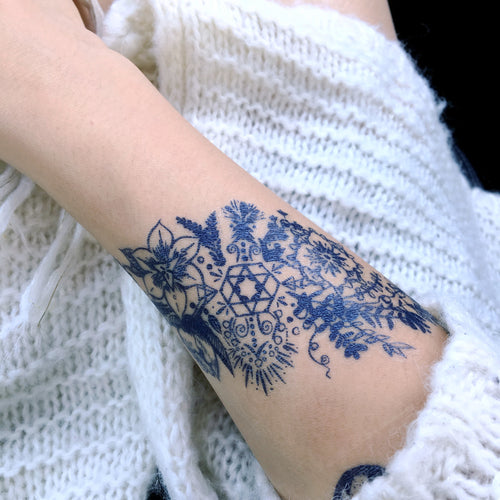 Boho & Spirital Floral Stripe Tattoo - LAZY DUO TATTOO