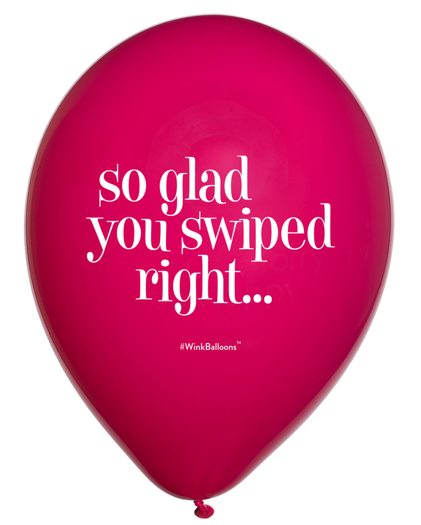So Glad You Swiped Right|I Love You|WinkBalloons|Sydney|Delivery|Online|Helium|Funny Balloons|Pink|Cute Balloons|Dating|Tinder|Party Balloons