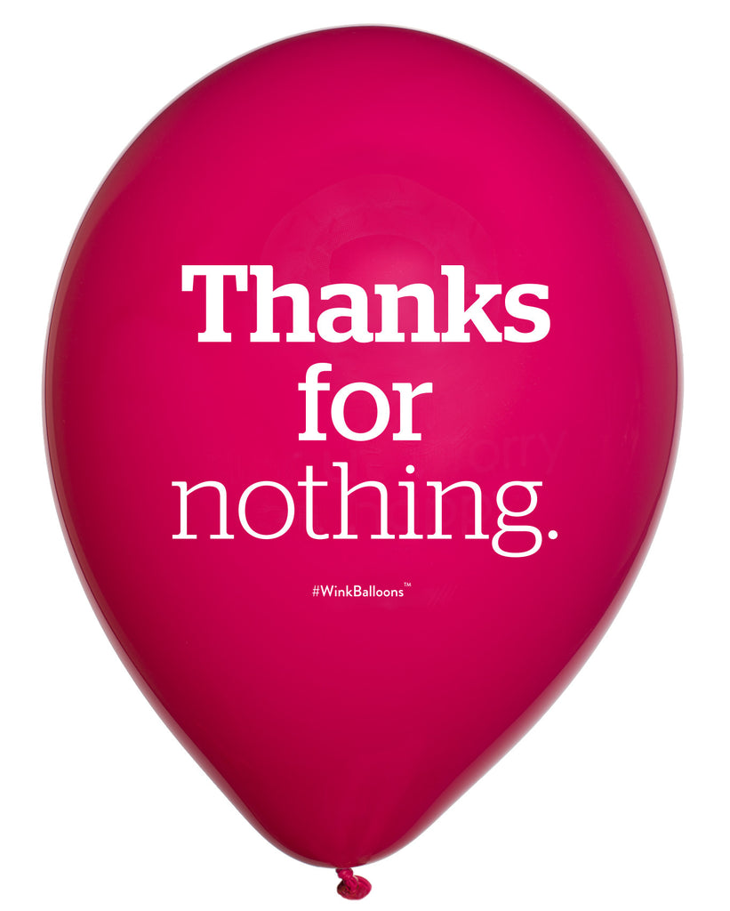 Thanks For Nothing|Abusive Balloons Australia|WinkBalloons|Sydney|Delivery|Online|Helium|Funny Balloons|Pink|Cute Balloons