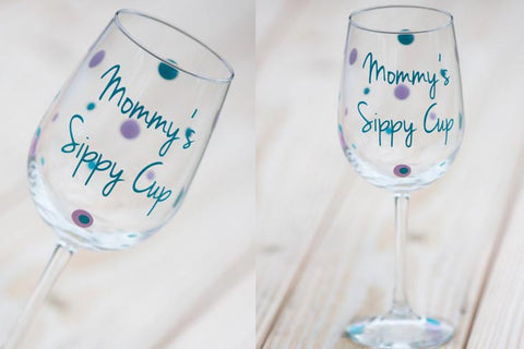 personalised pained wine glas mommy's sippy cup