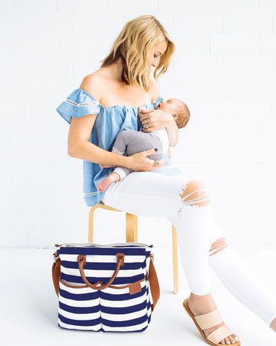 Original Tote Medium Diaper Bag - Navy/White