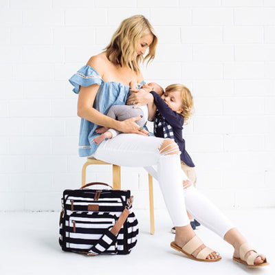 Convertible Backpack Diaper Bag - Black/White