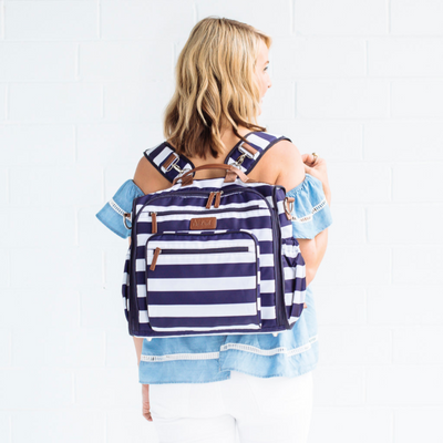 Convertible Backpack Diaper Bag - Navy/White
