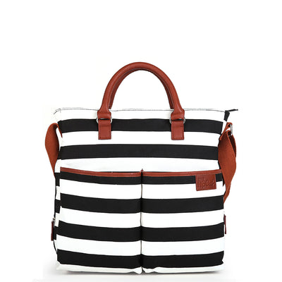 Hip Cub Original Tote Diaper Bag black & white - front view