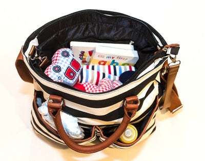 Hip Cub Original Tote Diaper Bag black & white - interior