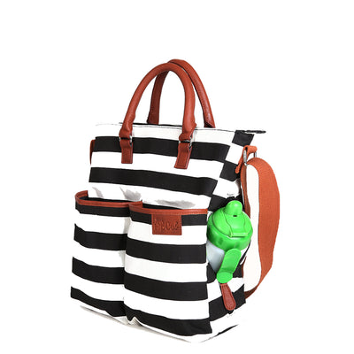 Hip Cub Original Tote Diaper Bag black & white - open side pocket