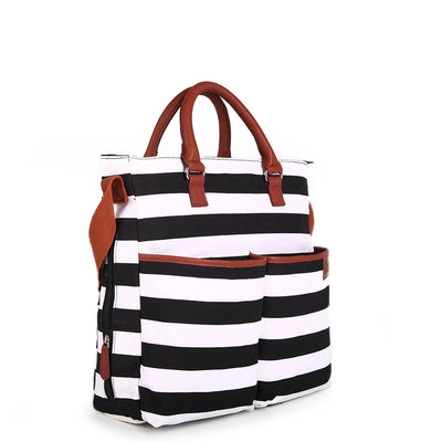 Hip Cub Original Tote Diaper Bag black & white - side view