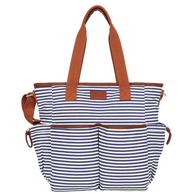 Hip Cub Tote Diaper Bag navy & white - front view