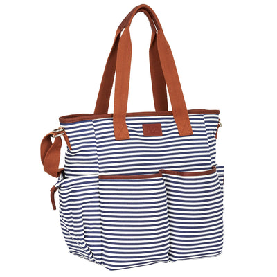 Hip Cub Tote Diaper Bag navy & white - 3/4 view with shoulder straps up