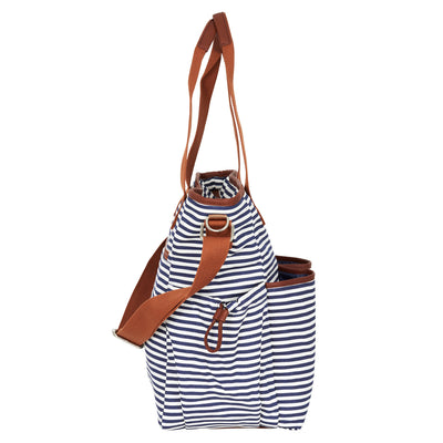 Hip Cub Tote Diaper Bag navy & white - side view