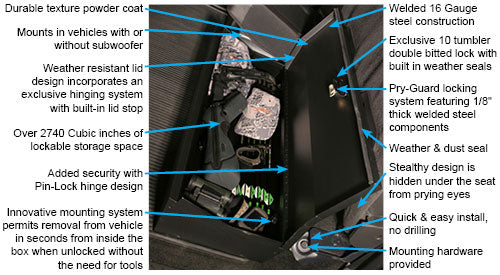 F-150 Under Rear Seat Lockbox (with subwoofer)