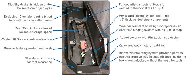 Tuffy - Chevrolet Silverado Crew Cab Under Rear Seat Lockbox