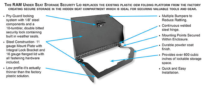 Ram Rear Split-Bench Underseat Storage Security Lid