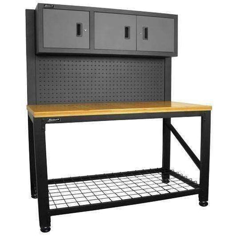 "Homak Security - First Watch – 59"" Wood Top Reloading Bench with 3 Door Steel Cabinet - GS00659031"
