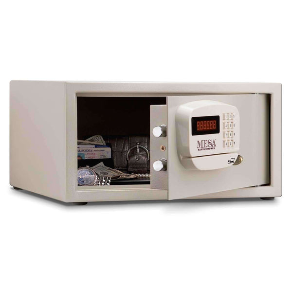 Mesa Safes - 1.2 cu ft All Steel Hotel Safe with Electronic Lock - MHRC916E-WHT