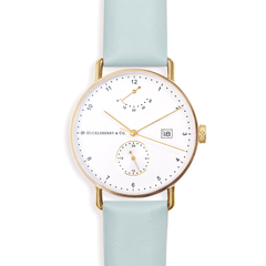 Atticus in Gold with Meltwater Blue Strap
